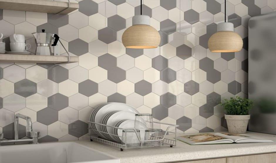 hexagon tiles in Kitchen
