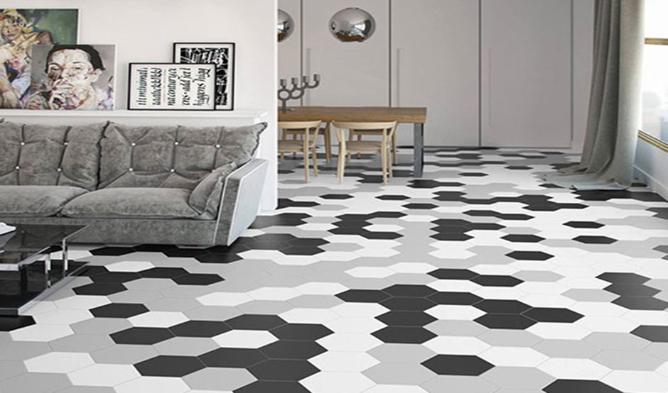 hexagon tiles in floor