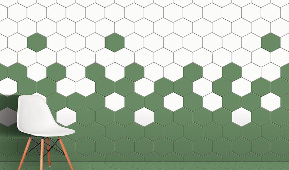 hexagon tiles in wall
